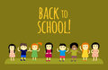 Different pupils kids back to school vector illustration.