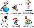 Different recreational activities illustration of the on a white background Stock Photography