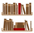 Different red books on shelf illustration of Royalty Free Stock Image