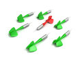Different red dart arrow out from others green set