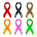 Different ribbons collection of awareness of color on a white background Royalty Free Stock Images