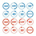 Different rotation angles vector icon set degree Stock Photos