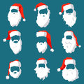 Different Santa hats, moustache and beards template set. Christmas face elements for past your festive design. Vector