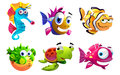 Different sea creatures illustration of the cartoon on a white background Royalty Free Stock Image