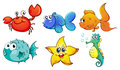 The different sea creatures illustration of on a white background Stock Photo
