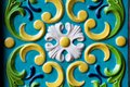Different shapes and colorful pattern on the wall. The pattern is very old and belongs to the architecture of the seventeenth cent Royalty Free Stock Photo