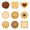 Different shapes of eating biscuit home made cookies, food for breakfast vector set Royalty Free Stock Photo