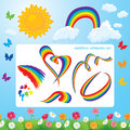 Different shapes of rainbows clouds sun butterf butterflies and flowers set summer time elements for design Stock Image