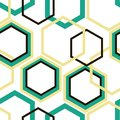 Different size turquoise, yellow and black rhombuses on white background.