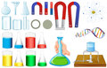Different sizes of beakers and magnets Royalty Free Stock Photo