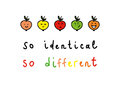 So different sketch about sameness and difference Royalty Free Stock Photos