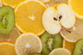 Different slices of sliced ​​fruit background Stock Image