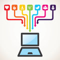 Different social and technology icon Stock Images