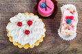 Different sort of beautiful pastry, small colorful sweet cakes Royalty Free Stock Photo