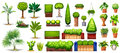 Different species of plants green on a white background Stock Images