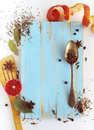 Different spices anise laurel clove and others on cutting board a wooden Stock Images