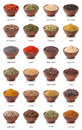 Different spices isolated on white background. Royalty Free Stock Photography