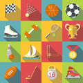 Different sport icons set, flat style
