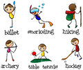 Different sports activity illustration of the on a white background Stock Photo