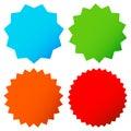 Different starburst / sunburst badges, shapes in 4 color Royalty Free Stock Photo