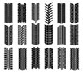 Different straight tyre imprints Stock Image