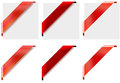 3 different style red corner ribbons Royalty Free Stock Photo