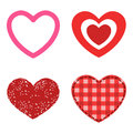Different style red heart vector icon isolated love valentine day symbol and romantic design wedding beautiful Royalty Free Stock Photo