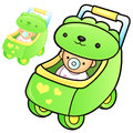 Different styles of baby carriage sets baby and children goods vector icon series Stock Photos