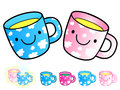 Different styles of baby cup sets baby and children goods vecto vector icon series Stock Image