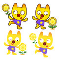 Different styles of cat mascot sets animal character design ser series Stock Photography