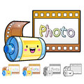 Different styles of film sets household items vector icon serie series Stock Images