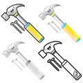 Different styles of hammer sets industrial market items vector icon series Royalty Free Stock Image