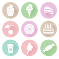 Different sweets icons set in flat style