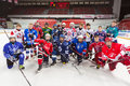 Different teams gathered for a group photography moscow apr on closing ceremony of the championship season of ice hockey Stock Images