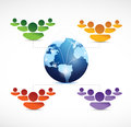 Different teams of people working together around the world illustration design over white Royalty Free Stock Images