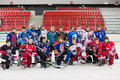 Different teams took off his helmet for general photography moscow apr on closing ceremony of the championship season of ice Stock Photo