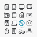 Different techno icons set with rounded corners design elements Royalty Free Stock Image