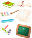 Different things used in the school illustration of on a white background Stock Images