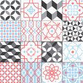 Different tiles pattern collection. Colorful and monochrome tracery set. Traditional and modern ornament vector Royalty Free Stock Photo