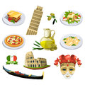 Different traditional elements and symbols of italy, venice. Travel vector illustrations in cartoon style
