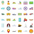 Different transport icons set, cartoon style
