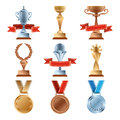 Different trophy set. Championship gold award. Golden, bronze and silver medal and cups of winners Royalty Free Stock Photo
