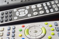 Different tv and hifi remote set control detail horizontal Stock Images