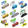 Different Types City Public Transport 3d Icons Set Isometric View. Vector Royalty Free Stock Photo