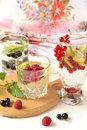 Different types of cold drink with berries selective focus vertical Stock Images
