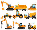 Different types of construction trucks