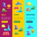 Different Types Cute Jelly Monsters Characters Banner Vecrtical Set. Vector