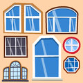 Different types house windows elements flat style frames construction decoration apartment vector illustration.