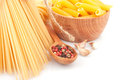 Different types of italian pasta dishes food ingredients Stock Photography