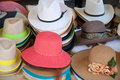 Different types and models of hats numerous colors fashion Stock Images
